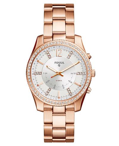 fossil q women 39 s scarlette rose gold tone stainless steel bracelet hybrid smart watch 38mm. Black Bedroom Furniture Sets. Home Design Ideas