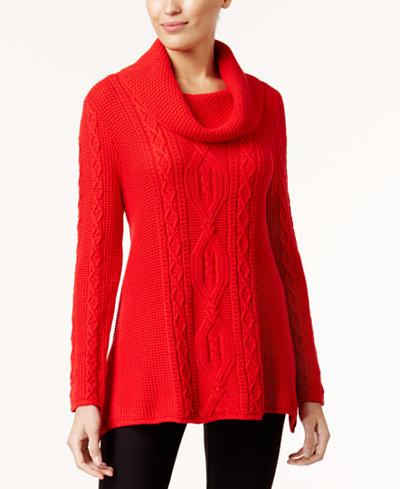 Jeanne Pierre Cotton Cable-Knit Sweater - Women - Macy's