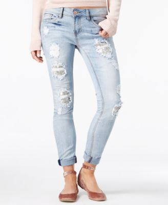 dollhouse Juniors Sequin-Patch Skinny Jeans