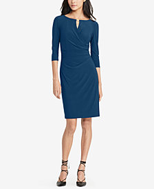 Lauren Ralph Lauren Keyhole Faux-Wrap Dress