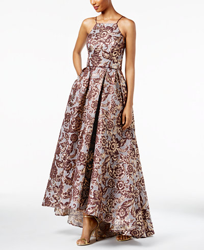 Betsy & Adam Floral Brocade High-Low Gown