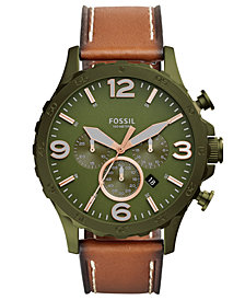Fossil Men's Chronograph Nate Brown Leather Strap Watch 50mm