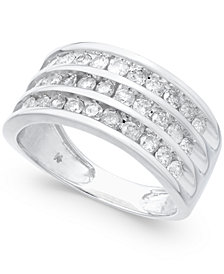Diamond Three-Row Statement Ring (1 ct. t.w.) in 14k White Gold