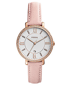 Fossil Women's Jacqueline Blush Leather Strap Watch 36mm, Created for Macy's