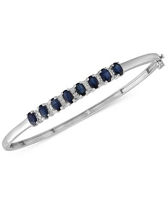 Sapphire 3 1 8 ct t w & Diamond 1 8 ct t w Bangle Bracelet