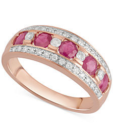 Sapphire (3/4 ct. t.w.) & Diamond (1/4 ct. t.w.) Ring in 14k White Gold, Also Available in Ruby