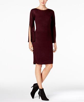 Calvin Klein Studded Split-Sleeve Sweater Dress
