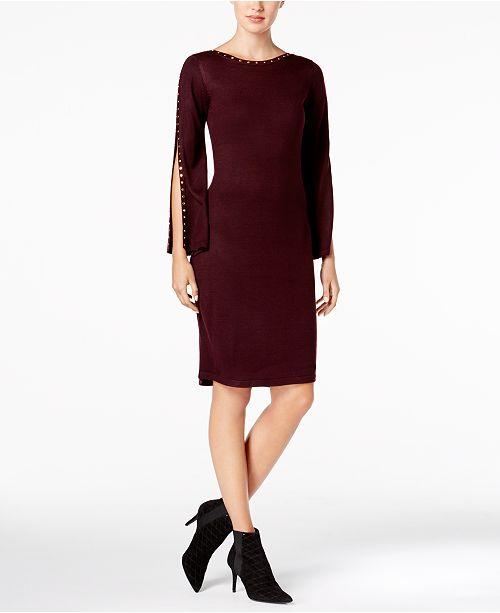 fa5c124eead Calvin Klein Studded Split-Sleeve Sweater Dress   Reviews - Dresses ...