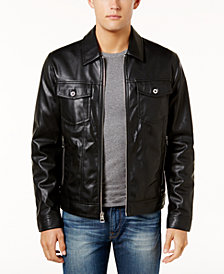 GUESS Men's Benson Faux Leather Trucker Jacket