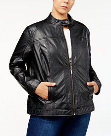 Jou Jou Trendy Plus Size Faux-Leather Jacket
