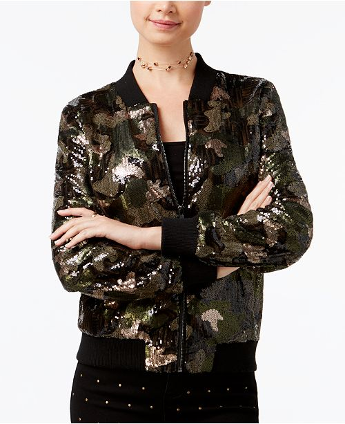 c493f3ea7 Polly & Esther Say What Juniors' Sequined Camo-Print Bomber Jacket ...