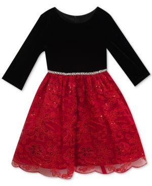 Kids 1950s Clothing & Costumes: Girls, Boys, Toddlers Rare Editions Sequin-Detail Embroidered Party Dress Little Girls 4-6X $24.99 AT vintagedancer.com