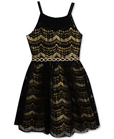 Rare Editions Metallic Lace Party Dress, Big Girls, Created for Macy's