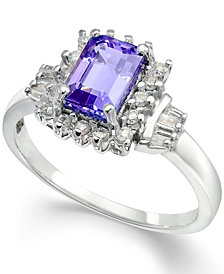 Tanzanite (1 ct. t.w.) & Diamond (1/4 ct. t.w.) Halo Ring in 14k Gold