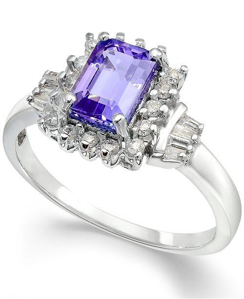 Macy's Tanzanite (1 ct. t.w.) & Diamond (1/4 ct. t.w.) Halo Ring in 14k Gold