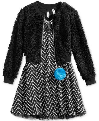 Beautees 2-Pc. Faux-Fur Bomber Jacket & Fit & Flare Dress Set, Big Girls