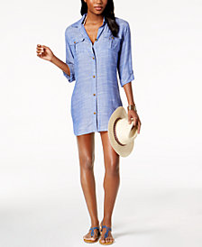 Dotti Cabana Life Shirtdress Cover-Up