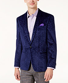 Ben Sherman Men's Slim-Fit Purple Textured Velvet Dinner Jacket
