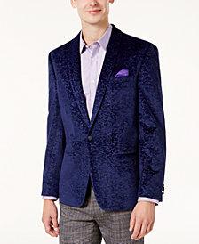 Ben Sherman Men's Slim-Fit Purple Textured Velvet Dinner Jacket