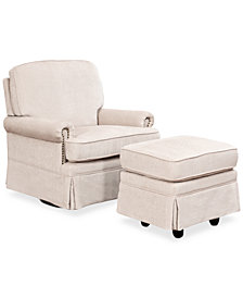 Emmerson Swivel Glider Chair & Ottoman Set with Nailhead Trim, Quick Ship