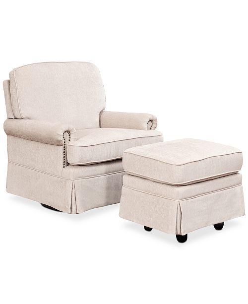 Abbyson Living Emmerson Swivel Glider Chair & Ottoman Set with Nailhead Trim, Quick Ship