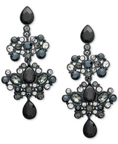 Givenchy Hematite-Tone Pavé & Black Stone Chandelier Earrings ...
