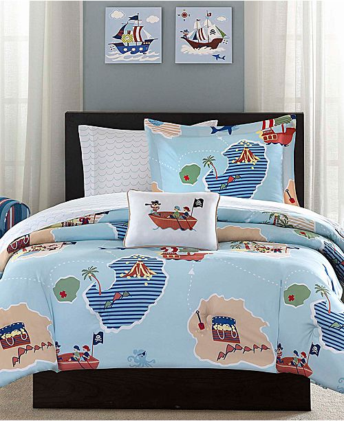 Unleash Your Inner Buccaneer With The Kids Ahoy Matey Reversible Comforter Set From Mi Zone Featuring A Blue Ground Design Complete Pirates