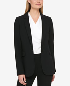 DKNY Petite Pick-Stitch Single-Button Blazer