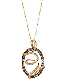 Le Vian Chocolate Diamond and White Diamond Oval Wrap Pendant (1-3/4 ct. t.w.) in 14k Gold