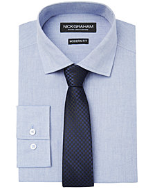 Nick Graham Men's Chambray Modern Fitted Shirt & Tie Set