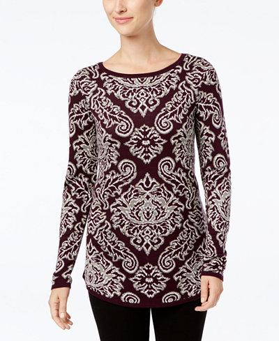 Charter Club Petite Jacquard-Knit Tunic Sweater, Created for Macy's