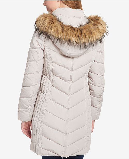 0bf1a758c Tommy Hilfiger Faux-Fur-Trim Chevron-Quilted Coat & Reviews ...