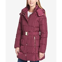Tommy Hilfiger Womens Belted Hooded Puffer Coat