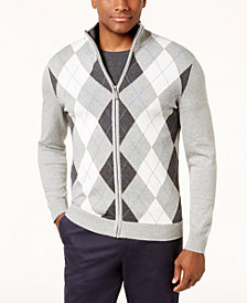 Club Room Men's Argyle Full-Zip Pima Cotton Sweater, Created for Macy's