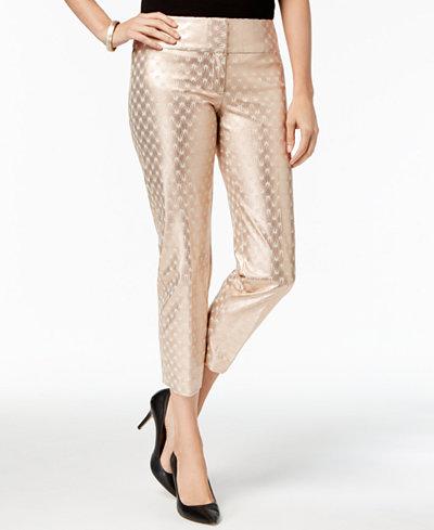 Alfani Petite Metallic Printed Slim-Leg Ankle Pants, Created for Macy's