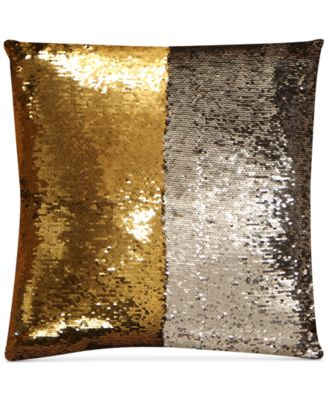 """Mermaid Colorblocked Silver & Gold Sequin 18"""" Square Decorative Pillow"""