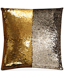 "Hallmart Collectibles Mermaid Colorblocked Silver & Gold Sequin 18"" Square Decorative Pillow"