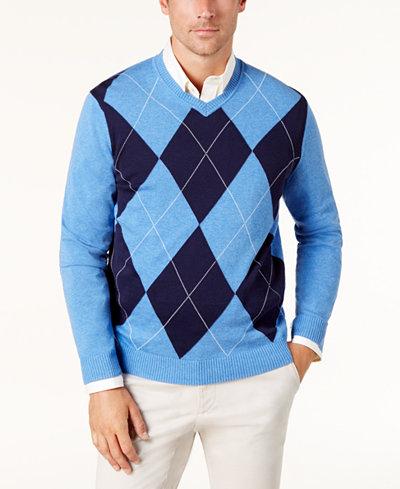 Club Room Men's Argyle Pima Cotton Sweater, Created for Macy's ...
