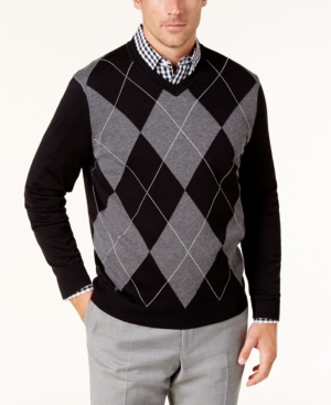 Men's Vintage Sweaters – 1920s to 1960s Retro Jumpers Club Room Mens Argyle Pima Cotton Sweater Created for Macys $65.00 AT vintagedancer.com