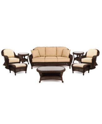 Monterey Outdoor Wicker 8-Pc. Seating Set with Sunbrella® Cushions  (1 Sofa, 2 Swivel Gliders, 2 Ottomans, 1 Coffee Table and 2 End Tables), Created for Macy's