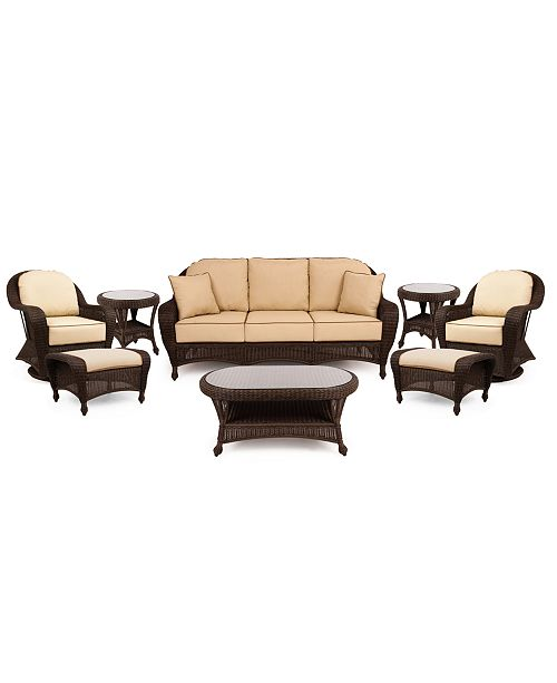 Furniture Monterey Outdoor Wicker 8-Pc. Seating Set with Sunbrella® Cushions  (1 Sofa, 2 Swivel Gliders, 2 Ottomans, 1 Coffee Table and 2 End Tables), Created for Macy's