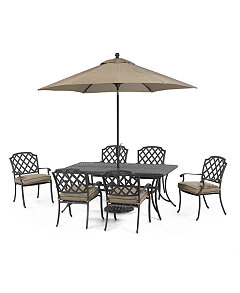 Grove Hill Outdoor Cast Aluminum 7 Pc Dining Set 72 X 38 Dining Table And 6 Dining Chairs Created For Macy S