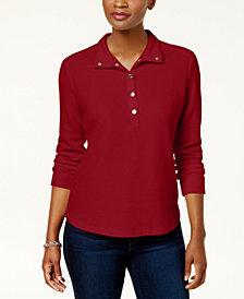Karen Scott Petite Snap-Collar Top, Created for Macy's