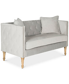 Sarah Tufted Settee With Pillows, Quick Ship