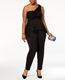 Monif C. Trendy Plus Size One-Shoulder Jumpsuit
