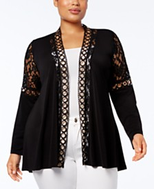 Belldini Plus Size Lace-Trim Cardigan