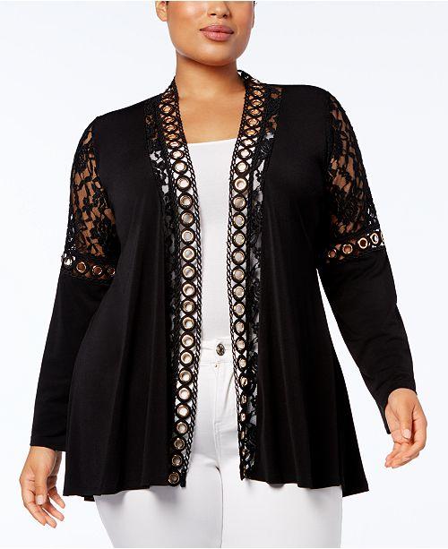Belldini Plus Size Lace-Trim Cardigan