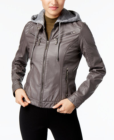 Jou Jou Juniors' Faux-Leather Knit-Hood Jacket - Coats - Women ...