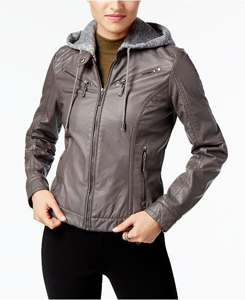 Jou Jou Juniors' Faux-Leather Knit-Hood Jacket
