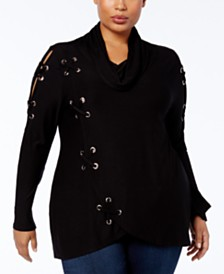 Belldini Plus Size Cowl-Neck Grommet Top